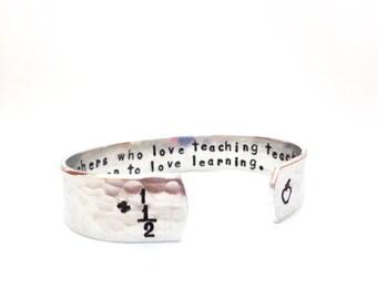Math/School Teachers Gift - Teachers Who Love Teaching Teach Children To Love Learning - Secret Message Bracelet Texured - Customizable