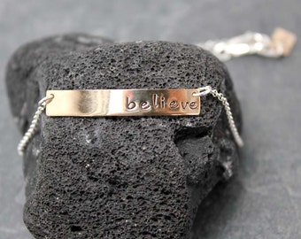 BELIEVE Bracelet, 925, sterling, 14K GF, Goldfill, Goldfilled, yellow, hand stamped, personalized, Customized
