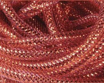 Deco Flex Tubing, Mesh Tubing, 8mm x 30 Yd, Brown w/ Gold Foil, Brown  Tubing, 0444