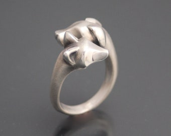 fox and hound  ring silver