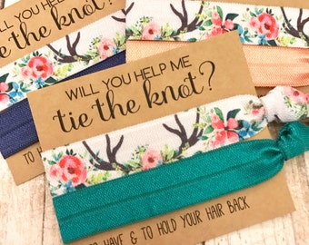 Will you help me Tie the Knot | Bridesmaid Proposal | Bridesmaid Hair Tie  Favors | To have and to hold your hair back | Big Deer + Solid