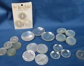 Vintage Lot of Large Buttons - White and Offwhite