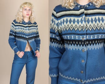 Vintage Fair Isle Cardigan - Medium // 80s Nordic Wool Knit Button Up Sweater