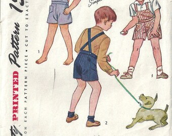 1945 WW2 Childrens Vintage Sewing Pattern S2 C21 BOY'S PLAYSUIT & SHIRT (C25)