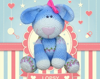 Lopsy The Button Bunny - Crochet Amigurumi Digital Downloadable Pattern
