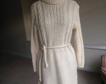 Vintage Hand Knit Cable Sweater Dress 1970