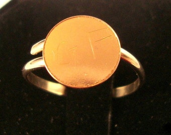 10 Ring blanks gold filled with 1/4 inch glue pads 14k/20 -  gFav - adjustable - ten pieces