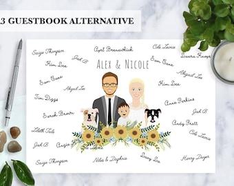 Guestbook alternative, Custom Illustration, Cartoon couple portrait, Digital illustration, Guestbook, Illustrated family, pets, unique