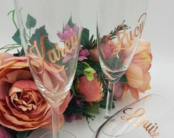 Rose gold, foil effect, Personalised wedding glassware, personalised champagne flutes