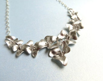 Silver Flower Necklace Silver Orchid Pendant Floral Silver Necklace Bib Necklace, Bridal Gift, Bridesmaid Gift