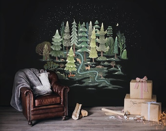 Frosted Flora Mural - Winter, Forest Scene Wallpaper