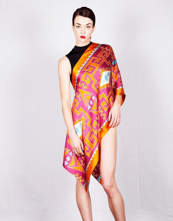 Tribal pattern hand made silk scarf in orange red and turquoise
