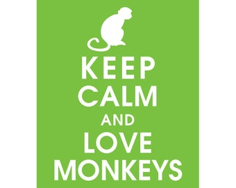Keep Calm and LOVE MONKEYS (B) - Art Print (Featured in Grass) Keep Calm Art Prints and Posters