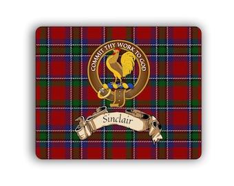 Sinclair Scottish Clan Tartan Crest Computer Mouse Pad
