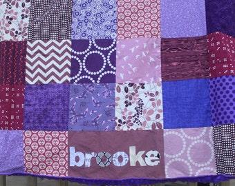 Custom Personalized Minky Baby Blanket Patchwork