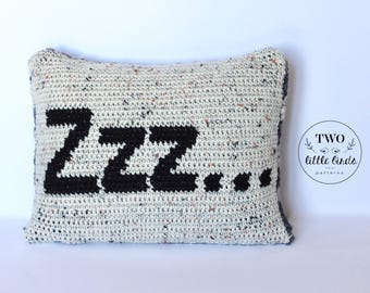 Throw pillow, bedroom decor, nursery decor, decorative pillow, rustic home decor, accent pillow, crochet pillow, home decor, ZZZ Pillow
