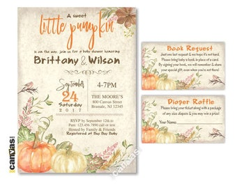 Little Pumpkin Baby Shower invitations, Fall Baby Rustic Party Invites Autumn Watercolor Rustic, Printable or Printed Free Shipping BS329