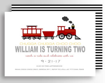 Modern Train Birthday Invitation - Train Invitation - Train Birthday Party