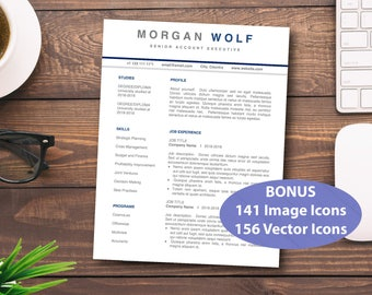 CV Resume Professional Simple Template for Word Modern Custom Resume Classic Downloadable Customizable 4 Page PC Mac Resumes Templates CVs