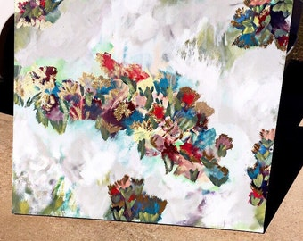 Abstract floral painting with gold leaf!