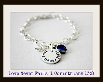 Christian Jewelry  Love Never Fails Sterling Silver Charm Bracelet