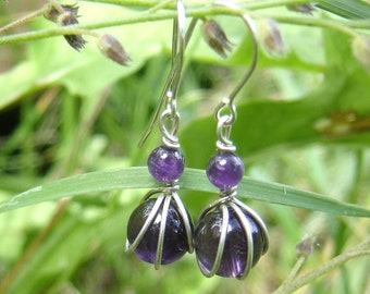 Tiny Amethyst Earrings, February Birthstone Jewelry Amethyst Jewelry, Women, Gift for Her Sterling Silver Wire Wrapped Jewelry Stone Jewelry