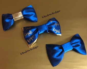 3pc. Royal Blue And Gold Personalized Headband Bow Matching Set Mommy And Me Big Sis Little Sis Gift Set