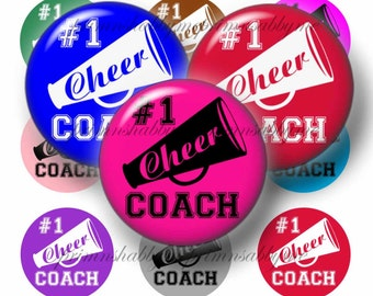Cheer Coach, Bottle Cap Images, 1 Inch Circles, Digital Collage Sheet, Instant Download, Cheerleader, Pendants, Bows, Jewelry, Magnets