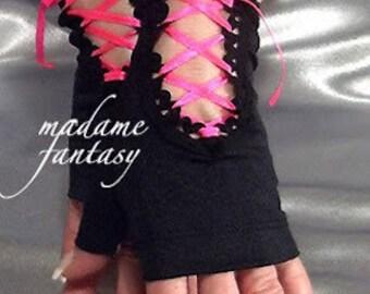 Spandex Schnürschuh fingerlose Handschuhe schwarz Neon rosa Satinband Goth