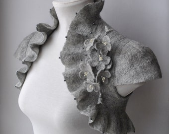Wedding Grey Bridal Bolero Shrug Jacket Felt Couture CLEARANCE Blossoms Corsage Brooch Cap Sleeves /CHERRY Blossoms/