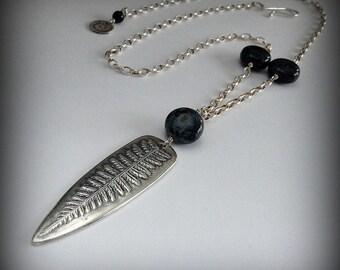 Reversible Fern Swirl Silver Necklace Pendant