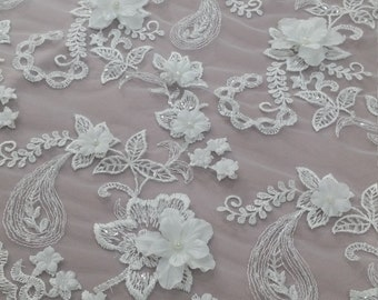 3D lace ,beaded Ivory Lace, French lace, Bridal lace Wedding lace White lace Veil lace Scalloped Floral lace Lingerie lace EVS005LB