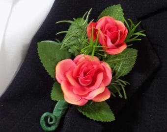 Boutonniere - Coral Silk Sweetheart Rose Boutonniere - Floral Boutonniere - Prom Boutonniere - Wedding Boutonniere