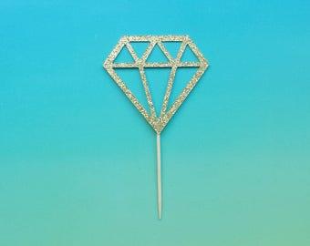 diamond donut toppers -set of 12-glitter-cupcake topper-wedding-bridal shower-bachelorette-engagement-party