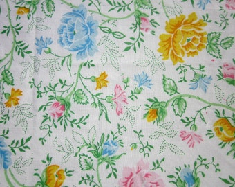 Vintage Sheet Fat Quarter Pink Yellow and Blue Flowers