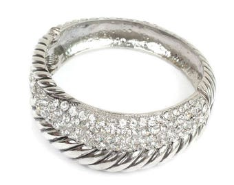 Chunky Rhinestone Bracelet Hinged Bangle Asymmetrical Vintage