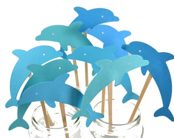 Dolphin Cupcake Cake Toppers / Dolphin Birthday Invitation / Dolphin Birthday Cupcake / Dolphin Baby Shower Theme / Dolphin Centerpiece