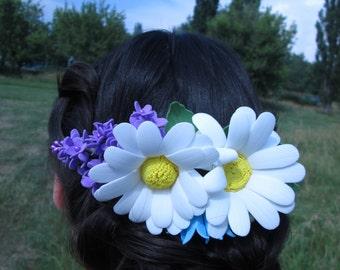 Wedding comb flower Romantic flower comb Bridal floral hair comb Rustic flower comb Wedding bridal comb Flower bridal comb Bridesmaids comb