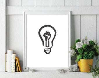 Minimalist Art - Black Lives Matter Light Bulb