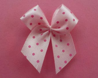 100 Perfect Pink Polka Dot Bows - Card Making, Embellishments, Baby Girl Scrapbooking
