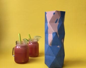 Faceted concrete Vase peach & Indigo