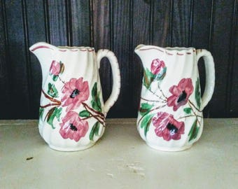 Pair of Blue Ridge Southern Potteries Poppy Pitchers Sweet