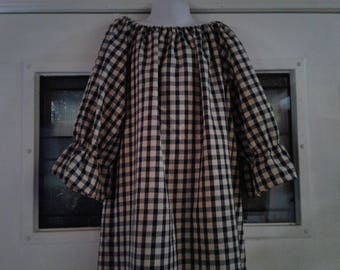Girls Plaid Dress, Plaid Girls Peasant Dress size 3months up to 12