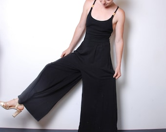 90s medium black bodysuit womens vintage one piece plazzo pant wide leg fitted tank top summer cocktail party outfit