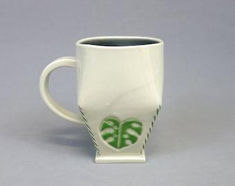 Monstera Leaf Mug - Handbuilt Geometric Porcelain Coffee Cup with Handle - Green Tropical Leaf Motif