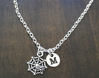 spider web initial charm necklace , charm necklace halloween jewelry,  spiderweb chain
