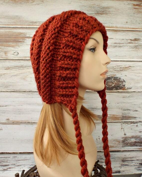 Burnt Orange Womens Hat Ear Flap Hat Beanie - Georgette Beehive Bonnet Hat in Rust Orange Knit Hat - Womens Accessories Winter Hat
