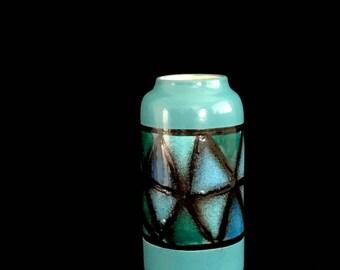 Vintage Mid Century Modern Bitossi Aldo Londi Blue Green Black Vetrata Glaze Art Pottery Vase Italy Italian 1960s 20th Century Design