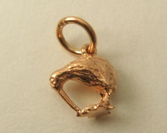 Genuine SOLID 9K 9ct ROSE GOLD 3D Kiwi Animal New Zealand Gift charm/pendant