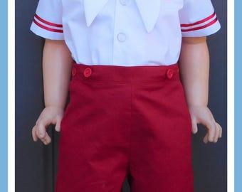 Baby Boys Sailor Suit, Boys Sailor Outfit, Button-On Suit